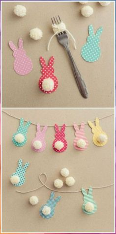 Gifts For Kids Easter decoration with bunnies - Easter bunny decoration.Learn the EASTER Bunny Story and Easter eggs facts to knowThis Colorful Easter Garland IsEaster of traditions in the company of rabbits, eggs and chocolate Decorating for Eas. Bunny Crafts, Easter Crafts For Kids, Easter Gift, Diy For Kids, Easter Dyi, Rabbit Crafts, Easter Presents, Dyi Crafts, Easter Treats