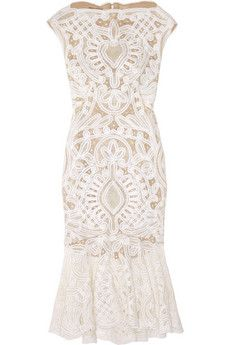 Alexander McQueen Crochet-Embroidered Silk-Organza Dress <3