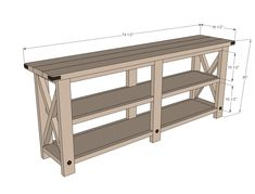 Ana White Build a Rustic X Console Free and Easy DIY Project and Furniture Plans Farmhouse Sofa Table, Rustic Console Tables, Farmhouse Furniture, Rustic Furniture, Rustic Farmhouse, Rustic Table, Rustic Sofa, Sofa Tables, Handmade Furniture