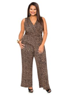 Abstract Surplice Jumpsuit