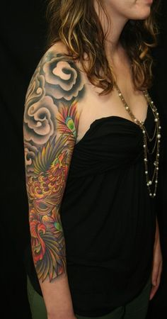 Japanese Phoenix Bird - Tattooed Sleeve by Brandon Notch...