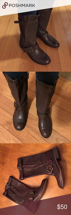 Carlo Pazolini brown leather boots Good condition, buckle details, mid calf, not tight around calf, quality leather Carlo Pazolini Shoes
