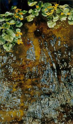 marsh marigolds with reflection / jessie's stream x micheal zarowsky watercolour on arches paper private collection Landscape Paintings, Landscapes, Marsh Marigold, Arches Paper, Watercolour, Boats, Reflection, Trees, Ocean