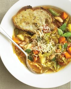 "Classic Minestrone. ""This beloved Italian soup is jam-packed with vegetables including tomatoes, carrots, celery, green beans, cabbage, and potatoes. Feel free to make substitutions and additions based on what's in season.""  from marthastewart.com"