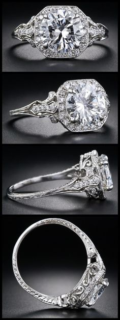 2.17 Carat 'D' color diamond Edwardian style engagement ring. Via Diamonds in the Library. I would die. DIE!!!