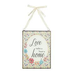 At home with Ashley Thomas Glass 'Love' hanging sign- at Debenhams.com