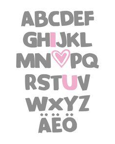german abc alphabet art i love you digital nursery wall art printable 8x10 jpeg file multiple colors and fonts available