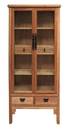 Vitrina en madera de Olmo de 90 con cajones. Medida 90L X 40F X 190h  Disponible en otros acabados y medidas.