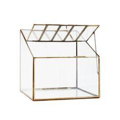 Terrarium forme maison serre verre et metal or 24x24x19 cm Doing Goods- Howne