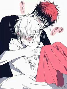 I'm gonna die of cuteness!! I love this picture! <333 Kagami x Kuroko (Kuroko…
