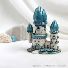 Summer Turquoise Sky House of tiny fairies -- unique Hand Made Ceramic Eco-Friendly Home Decor by studio Vishnya