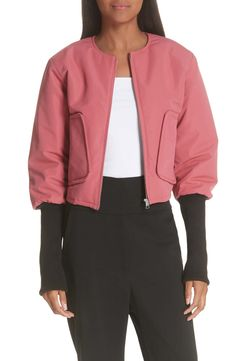 Contrast Cuff Crop Bomber Jacket,                         Main,                         color, DARK PINK Top Online Shopping Sites, Layered Look, Jackets Online, Contrast, Bomber Jacket, Nordstrom, Coat, Summer Street, Popular