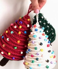 These Mini Christmas Tree Crochet Ornaments will look amazing decorating your tree. Learn how to make beautiful French Knitting Christmas Ornaments too! Knit Christmas Ornaments, Christmas Crochet Patterns, Crochet Christmas Ornaments, Mini Christmas Tree, Holiday Crochet, Christmas Knitting, Christmas Holidays, Christmas Decorations, Frozen Christmas