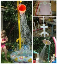 upcycled PVC pipe backyard sprinkler park for kids