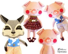 Three Little Pigs and the Big Bad Wolf Sewing by DollsAndDaydreams, $20.00
