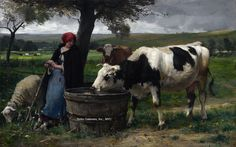 La Prairie by Julien Dupré - 37 1/2 x 59 3/8 inches Signed and dated 1889 19th century french realist naturalist cows sheep figures figurative paris salon