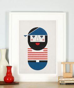 Affiche rétro pour pépinière, pirate, Barbe Noire, thème marin, mer, océan, sailor, art minimaliste, style scandinave, vintageart art imprimé