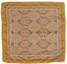Siirry tuotteeseen - kultaruskea vintage silkkihuivi