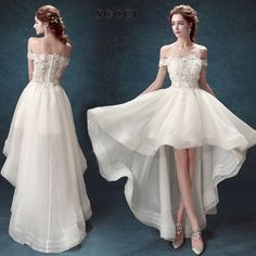 French Organza Boat Neck High/Low Wedding Dress $114.29   => Save up to 60% and Free Shipping => Order Now! #fashion #woman #shop #diy  http://www.weddress.net/product/french-organza-boat-neck-highlow-wedding-dress-2016-appliques-lace-flower-vestido-de-noiva-vantage-bride-formal-party-gowns