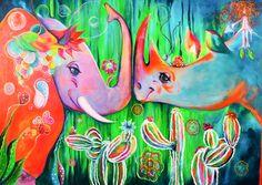 Animal Love | Acrílico sobre lienzo | Acrylic on canvas by Pili Tejedo 165 x 115 cm