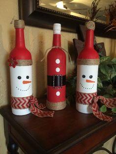 Christmas wine bottles by thejarjunkie27 on Etsy
