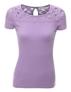 Doublju Women Casual Scoop Neck 3/4 Sleeve Big Size T-Shirt LAVENDER,3XL