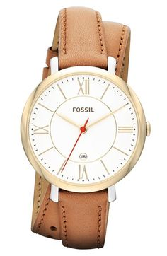 So beautiful! Love the double wrap leather -Fossil Jacqueline Three-Hand Date Leather Watch – Tan Fossil Watches, Women's Watches, Gold Watches, Wrap Watches, Leather Watches, Fine Watches, To Go, Bracelet Cuir, Accessories