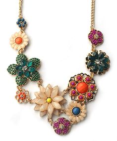 Look at this Bright-Tone Bohemian Floral Bib Necklace on #zulily today!