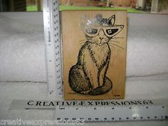 Comotion Huge Cute Kitty with Glasses Rubber StampExcellent Condition on Ebay