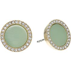 Michael Kors Disc Studs Earrings (Gold/Mint Acetate/Clear Pave)... ($38) ❤ liked on Polyvore featuring jewelry, earrings, green, gold disc earrings, gold post earrings, yellow gold earrings, gold stud earrings and clear earrings
