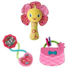 Bright Starts Pretty In Pink Playtime Fun Toy Bundle, Pink by KIDS II. $11.50. Pretty in Pink Bloom & Rattle - Shake the soft flower for fun rattling sounds. Pretty in Pink Rattle & Shake Barbell - Clear rattle with colorful beads will delight baby. Pretty in Pink Carry & Teethe Purse - She will love to carry and teethe on this cute water filled purse. From the Manufacturer                This set is a great collection of toys for entertaining baby. Rattles will deligh...