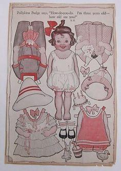 Vintage Pollykins Pudge Paper Dolls 1919 Deco-Era/Barbara Hale/Summer/Beach (05/02/2013)