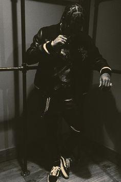 Travis Scott wearing Balmain Slim Fit Leather Sweatpants, Vans Old Skool Lite, Vintage Vintage Star Wars Episode 1 T-Shirt