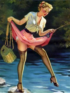 Arnold Armitage Pin Up Girl Pin Up Vintage, Pin Up Retro, Retro Vintage, Vintage Graphic, Vintage Ladies, Pinup Art, Fishing Girls, Gone Fishing, Fishing Stuff