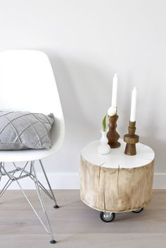 tree trunk on wheels. future outdoor side table. x2 please. (maybe a 3rd at coffee table size/height for a food stool)