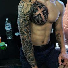 Tattoo For Guys Cross Badass 44 Ideas Cool Chest Tattoos, Chest Piece Tattoos, Badass Tattoos, Unique Tattoos, Rose Tattoos, Leg Tattoos, Tribal Tattoos, Tattoos For Guys, Tattos