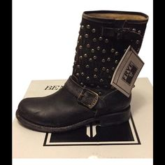 ‼️SALE‼️NWT!!! Frye Jenna Cut Stud Short Boots NWT!!! Beautiful studded black Frye boots. New With Tags and box!!! They have never been worn. They are supposed to look distressed. And YES the tops of toes are supposed to look like that!! Also the last photo is a picture I found on line of someone wearing same boots. They are too small for me to put on and model. Frye Shoes Ankle Boots & Booties