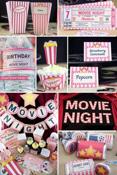 Movie Night Party Printables, Movie Night Invitation Pull off a fantastic movie party theme with these vintage style movie night printables. Your guests will not forget this movie night! Sleepover Birthday Parties, Birthday Party For Teens, Birthday Party Themes, Party Themes For Teenagers, Teen Party Themes, 13 Birthday, Birthday Gifts, Cool Birthday Ideas, Teen Birthday Games
