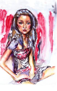 ARTFINDER: In red by Anna Sidi-Yacoub - Portrait painting on watercolour paper. Watercolor And Ink, Watercolour Painting, Paintings For Sale, Original Paintings, Saatchi Online, Saatchi Art, Anna, Artwork, Portraits