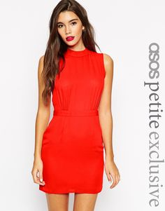 Image 1 ofASOS PETITE Sleeveless Mini Dress with High Neck