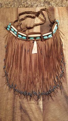 Native American leather fringed bib choker by TribalTerri on Etsy