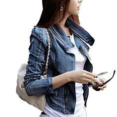 LOBTY Damen Jeans-Jacke Blouson Übergangsjacke Denim Mant…