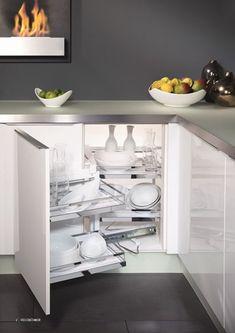 clever storage for the kitchen by kesseböhmer Kitchen Drawer Organization, Kitchen Storage, Cabinet Storage, Corner Cabinet Solutions, Storage Solutions, Les Elements, Blind Corner Cabinet, Shops, Corner Unit