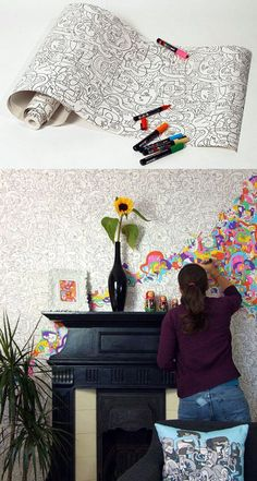 Colour your own wall paper - great for a kids room
