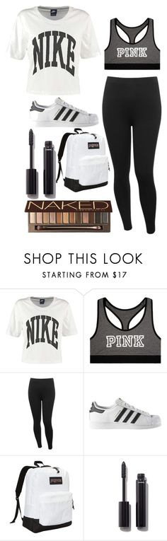 """School Day Black & White"" by hipopaws on Polyvore featuring NIKE, Victoria's Secret, M&Co, adidas, JanSport, Chanel and Urban Decay"