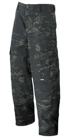 TruSpec Tactical Response Uniform Pants - Multicam Black preloaded with gear and inner belt for fast deployment.