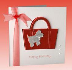Personalised Handmade Handbag Card Crystal Cards Shiny