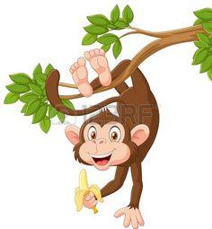 monos: ilustración vectorial de dibujos animados feliz que cuelga el mono y el…
