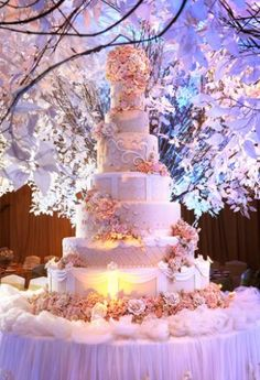 sweet and lovely pink and peach wedding cake. i found this from www.bridestory.com