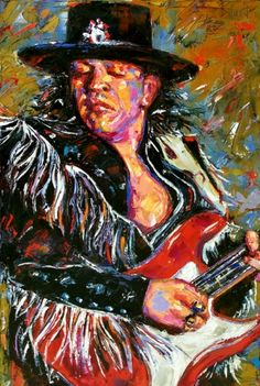 "Stevie Ray Vaughan "" Fringe "" Guitar art painting"